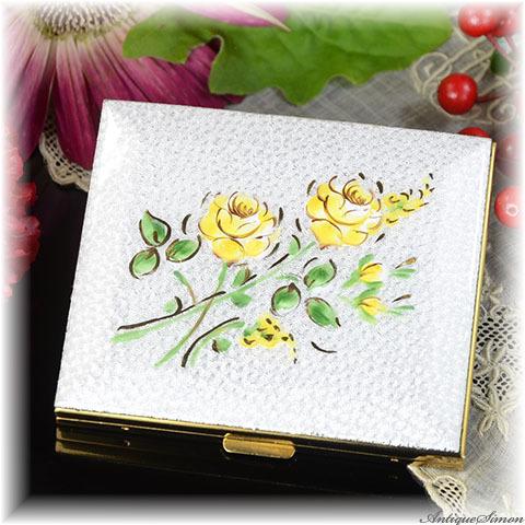 シルドクラウト SCHILDKRAUT 未使用ほぼパーフェクト 特注新品ミラー 立体的なハンドペイント 2輪のバラ やさしい色調 レモンイエロー お粉用コンパクト 薔薇 ギヨシェ 1950年代