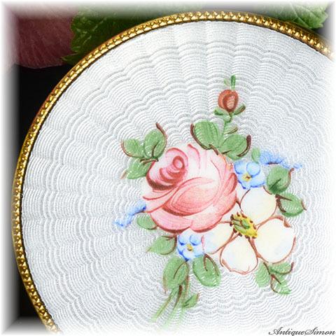 明るく澄んだギヨシェ 特注新品ミラー 大きめサイズ 存在感のある一点物 ハンドペイントのバラ 美しさの永続するギヨシェ guilloche お粉用コンパクト シリコンシフター付き
