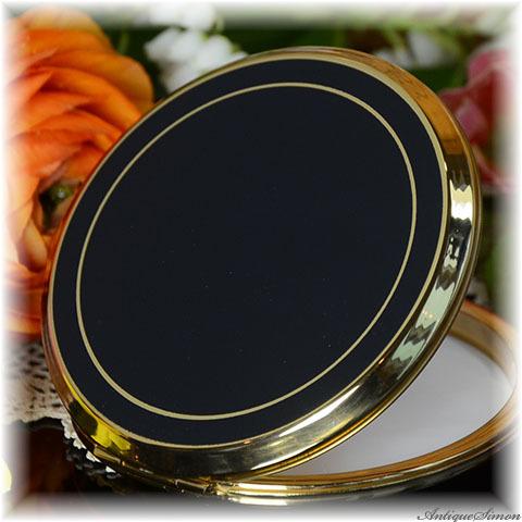 ストラットン Stratton 未使用パーフェクト オリジナル鏡も大変良好 モード感あふれる黒のコンパクト シックな金リング お粉プレスト両用 ミニ・コンバーチブル 金彩 大人の化粧道具