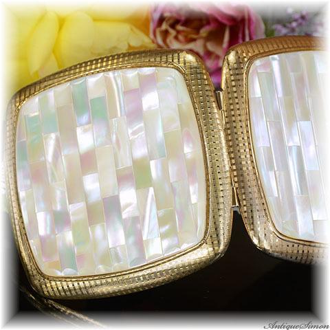 英国メリッサ MELISSA 未使用品 特注新品ミラー クラシカルな美しさ マザーオブパール 天然の真珠光沢 精確な作り お粉プレスト両用 上質で美しいコンパクトミラー