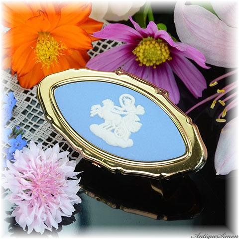 ストラットン Stratton 未使用ほぼパーフェクト 曙の女神 オーロラ姫 WEDGWOOD ウェッジウッド 爽やかなペールブルー色 ジャスパー リップビュー 鏡付きリップホルダー LIP VIEW