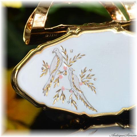 ストラットン Stratton 未使用ほぼパーフェクト リップビュー 熟練の手彫金 ラブバード スイートで優雅 清楚な白エナメル 鳥 価値ある手彫金 鏡付きリップホルダー LIP VIEW
