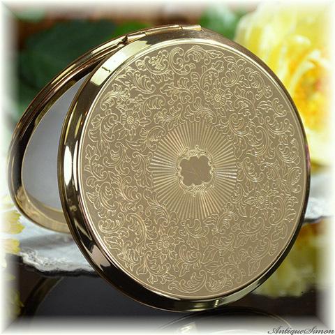 ストラットン Stratton 未使用ほぼパーフェクト 鏡も大変良好 美しいアラベスク模様 万能デザイン 鏡面仕上げ 上品で使いやすい お粉プレスト両用 ミニ・コンバーチブル コンパクトミラー