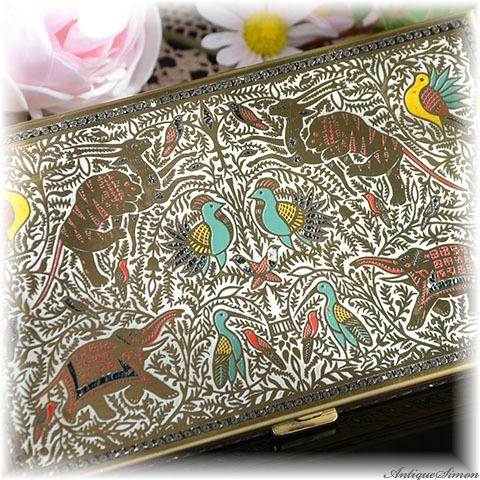 ボルプテ VOLUPTE 個性的 全面に装飾 まばゆく輝く特殊な技法 ペルシャの聖なる鳥獣 シガレットケース 1940年代 カードケース 小物入れ ヴィンテージの味わい