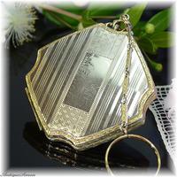 ラ・モード La Mode 特注新品ミラー ロミオとジュリエット 1920年代 ダンシングコンパクト ゴージャスな銀色の輝き 極細エンジンターン彫金 La Modeの逸品 R&G 得がたいデザイン