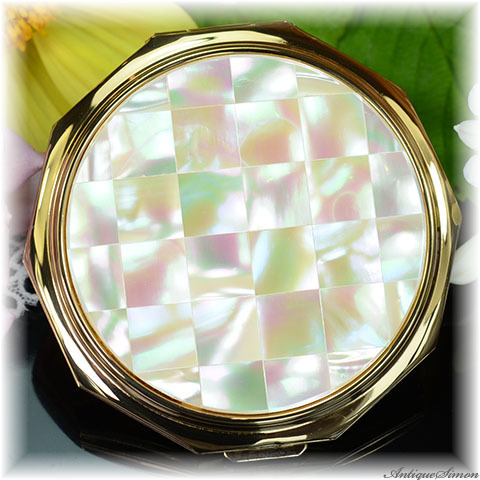 ストラットン Stratton 未使用ほぼパーフェクト 特注新品ミラー 天然の真珠光沢 十角形 マザーオブパール 虹色の輝き コンバーチブル お粉プレスト両用 コンパクトミラー 女性を守るパール