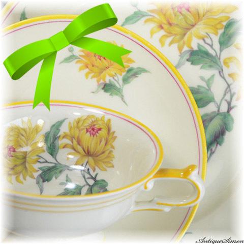 ドイツ Krister Porzellan Manufaktur 1930年代~1940年代 発色の美しい菊花 カップ&ソーサー プレート めずらしい黄色 KPMトリオ