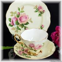 ロイヤルアルバート ROYAL ALBERT シックな色調の薔薇 まばゆい金彩 レモンシフォン色 カップ内は純白 3点セット トリオ イングリッシュビューティー