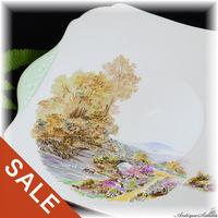 シェリー Shelley ハッピープライス 秋の情景 大きなケーキプレート 1946年以前の人気パターン ヒースの花 HEATHER ヘザー 絵画的な美しさ 優雅なシェリー 存在感ある大皿