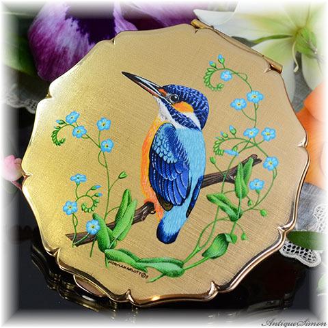 ストラットン Stratton 未使用ほぼパーフェクト 特注新品ミラー 芸術的な絵柄 鳥類図鑑の画家 絹目調 カワセミ 青い宝石と呼ばれる鳥 お粉プレスト両用 クイーンタイプ コンパクトミラー