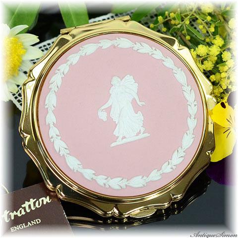 ストラットン Stratton 未使用極上美品 特注新品ミラー 希少なピンクジャスパー 春を呼ぶ女神 クイーンタイプ WEDGWOOD ウェッジウッド フローラルガール コンパクトミラー お値打ち価格