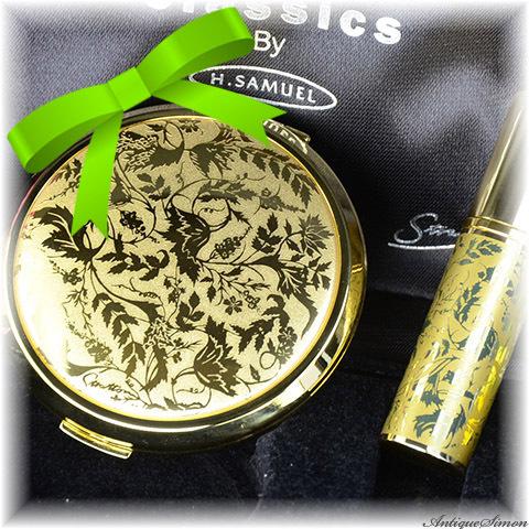 ストラットン Stratton コンパクトと香水アトマイザー2点とも未使用セット 特注新品ミラー 人気のローレライ 優美な植物模様 鏡面仕上げ お粉プレスト両用 ミニ・コンバーチブル H.SAMUEL