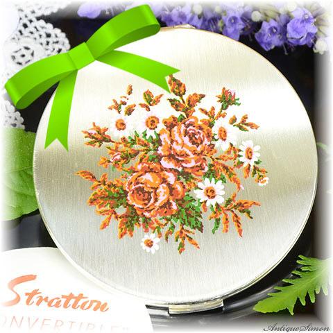 ストラットン Stratton 未使用パーフェクト 特注新品ミラー EPNSシルバー ローズピンクとダークオレンジ バラとマーガレットの花束 お粉プレスト両用 コンバーチブル コンパクト
