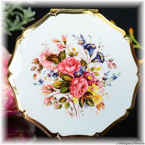 ストラットン Stratton 未使用パーフェクト 特注新品ミラー 清楚な花束 チェリー色の薔薇 ドレスデンスプレイ 得がたい美しさ バラ お粉プレスト両用 クイーンタイプ コンパクトミラー