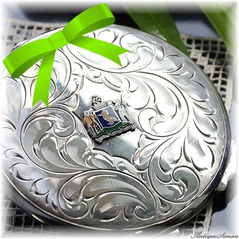 1930年代~1940年代頃 繊細な手彫金の純銀シルバー925 優雅な曲線 赤毛のアン Sterling Silver ヴィンテージコンパクト スターリングシルバー