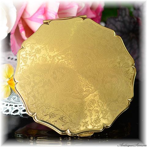 ストラットン Stratton 未使用ほぼパーフェクト 特注新品ミラー 美しい万能デザイン 植物模様 アラベスク 強い輝き お粉プレスト両用 ゴールド 鏡面仕上げ クイーンタイプ コンパクトミラー