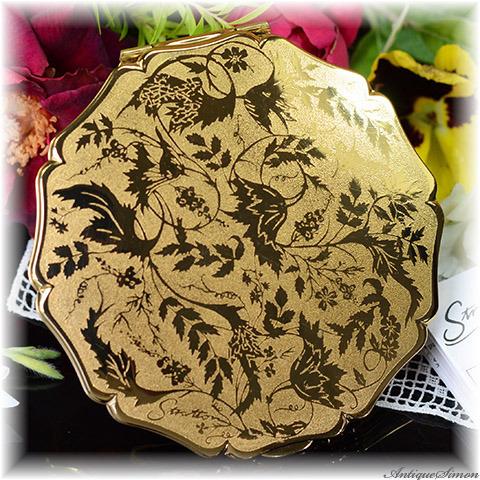 ストラットン Stratton 未使用パーフェクト 特注新品ミラー 人気のローレライ Lorelei 金色デザイン 鏡面仕上げ 優美な植物模様 お粉プレスト両用 クイーンタイプ コンパクトミラー