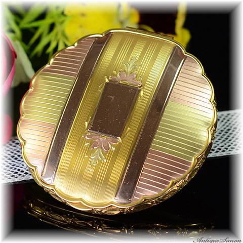 ラ・モード La Mode 多彩なゴールド 価値の高い手彫金 熟練のエンジンターン彫金 側面の素晴らしさ 花びらのようなアンティーク コンパクトミラー 格別のクオリティ R&G Co. アメリカ製