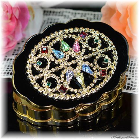 ボルプテ VOLUPTE 未使用の価値ある極上美品 コレクター好み 希少な逸品 宝石入れにも 状態は大変良い ラインストーン 黒エナメル お粉用コンパクトミラー 確かな作り1930年代 レア品