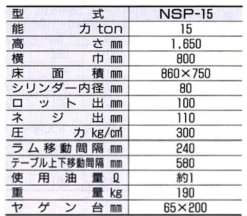 国産ナガサキ NSP-15 油圧プレス 能力15トン 代引発送不可 送料無料 即日出荷 税込特価