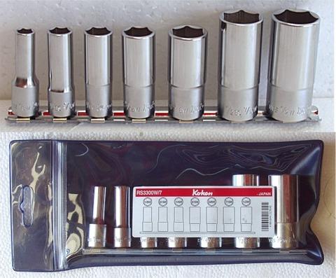 コーケン(Ko-ken) RS3300W/7 英国規格ソケットセット 6角BSWディープソケットレールセット  3/8(9.5mm)sq 代引発送不可 税込特価