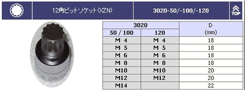 RS3020-7-L50 3重4角ビットソケットセット