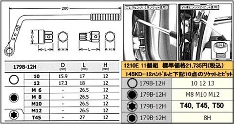 1210E ドアヒンジレンチセット11ヶ組