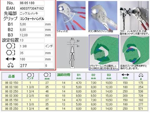 クニペックス 8605-180S5 プライヤーレンチ 航空機整備仕様 特注品 税込特価!!