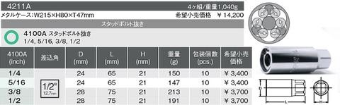 Ko-ken(コーケン) スタッドボルト抜き4個セット(インチサイズ) 4211A