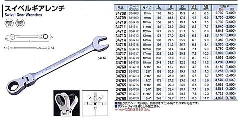 シグネット HPY-347/7 スイベルギアレンチ7本セット レンチホルダーのおまけ付!! 送無税込特価!!