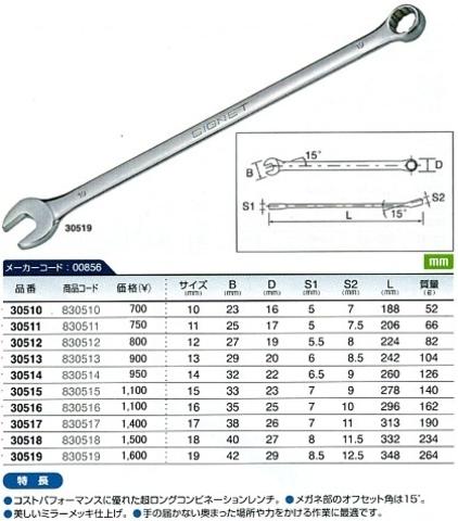 シグネット 30554 超ロングコンビレンチセット10本セット 税込特価!!