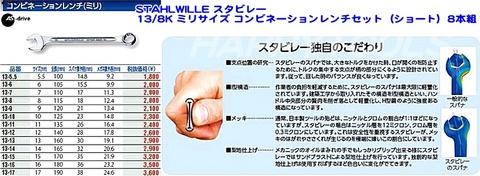 スタビレー(STAHLWILLE) 13/8K ミリサイズ コンビネーションレンチセット(ショート)8本組 代引発送不可 即日出荷 税込特価