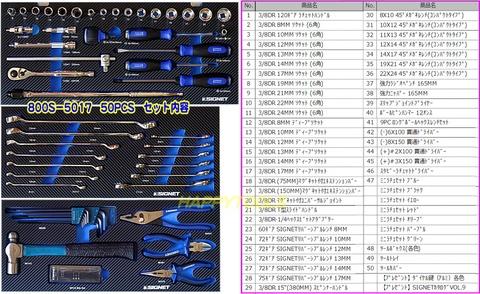 シグネット 800S-5017MR メカニックツールセット カラー:マットレッド おまけ付!!送無税込!!即納特価!!