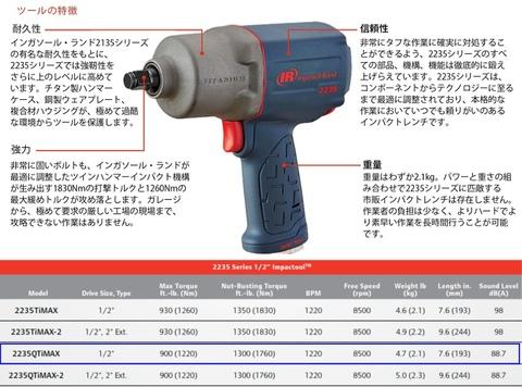 "INGERSOLL-RAND IR-2235QTi-MAX 軽量強力タイプインパクトレンチ 1/2""(12.7mm) 送料無料 即日出荷 税込特価"