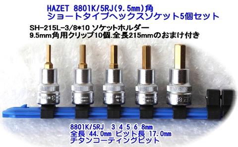 """ハゼット(HAZET) 8801K/5RJ 3/8""""(9.5mm)角のショートタイプのヘックスソケットセット おまけ付!! 税込即納特価!!"""