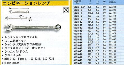 ハゼット(HAZET) 600SPC/10 コンビネーションレンチセット 代引発送不可 全国送料無料 税込特価