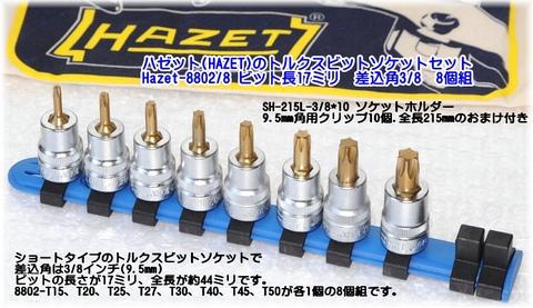 ハゼット(HAZET) 8802/8 トルクスビットソケットセット おまけ付 送無税込!!即納特価!!