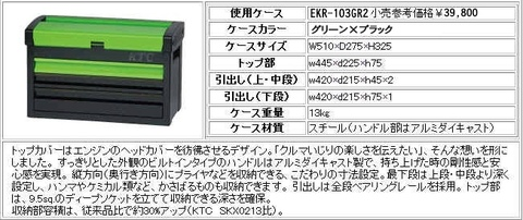 KTC SK366シリーズ 66点のツールとEKR-103GR2グリーン×ブラックカラーのセット おまけ付!! 送無税込!!即納特価!!