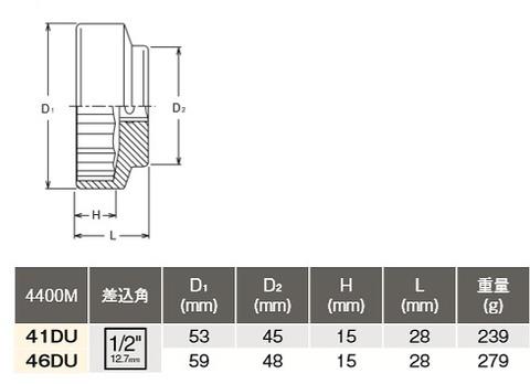 コーケン(Ko-ken) 4400M-46DU 二輪車用専用工具リヤホイールナットソケット ドゥカティ用 代引発送不可 税込特価