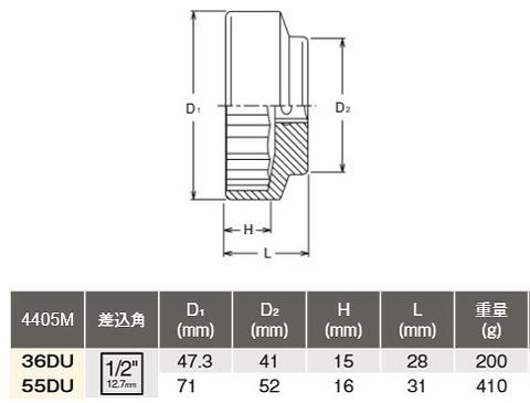 コーケン(Ko-ken) 4405M-55DU 二輪車用専用工具リヤホイールナットソケット ドゥカティ用 代引発送不可 税込特価