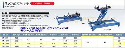 長崎ジャッキ M-1500 ミッションジャッキ 4トン車~大型車向け 代引発送不可 送料無料 即日出荷 税込特価