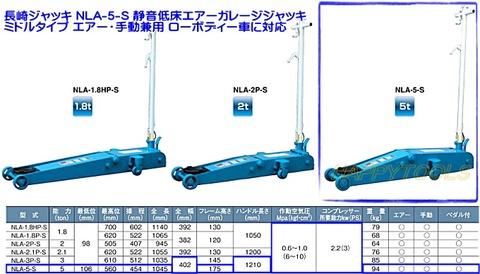 長崎ジャッキ NLA-5-S 静音低床エアーガレージジャッキ ミドルタイプ エアー・手動兼用 ペダル付 能力5トン 代引発送不可 送料無料 在庫有 税込特価