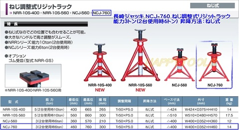長崎ジャッキ NCJ-760 ねじ調整式リジットラック 能力3トン(2台使用時6トン) 代引発送不可 送料無料 税込特価