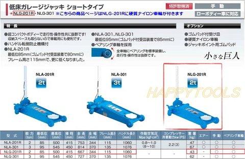 長崎ジャッキ NLG-201R-K 低床ガレージジャッキ ショートタイプ 手動式 能力2トン 硬質ナイロン車輪付 代引発送不可 送料無料 即日出荷 税込特価