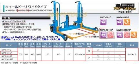 長崎ジャッキ NWD-501GP ホイールドーリ ワイドタイプ ゴム車輪 フォーククイックスライド方式・足踏みペダル仕様 代引発送不可 送料無料 税込特価
