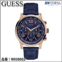 GUESS(ゲス)・メンズ腕時計 ~HORIZON~ ネイビー(革バンド)W0380G5