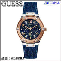 GUESS(ゲス)・レディース腕時計 ~JET SETTER~(デニム+皮革バンド)W0289L1