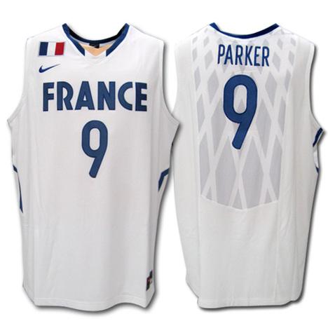【会員:7999円】 バスケ・フランス代表 9番: トニー・パーカー (スパーズ所属) Home(白) NIKE