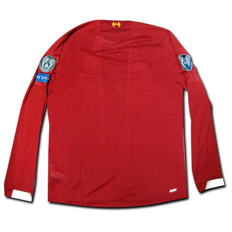 【CLフルパッチ】19/20 リバプール Home (赤) 長袖 CLチャンプパッチ+ビッグイアー6+RESPECT