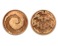 クスリエ カタカムナゴールデンドラゴン 木製ブローチ2個入